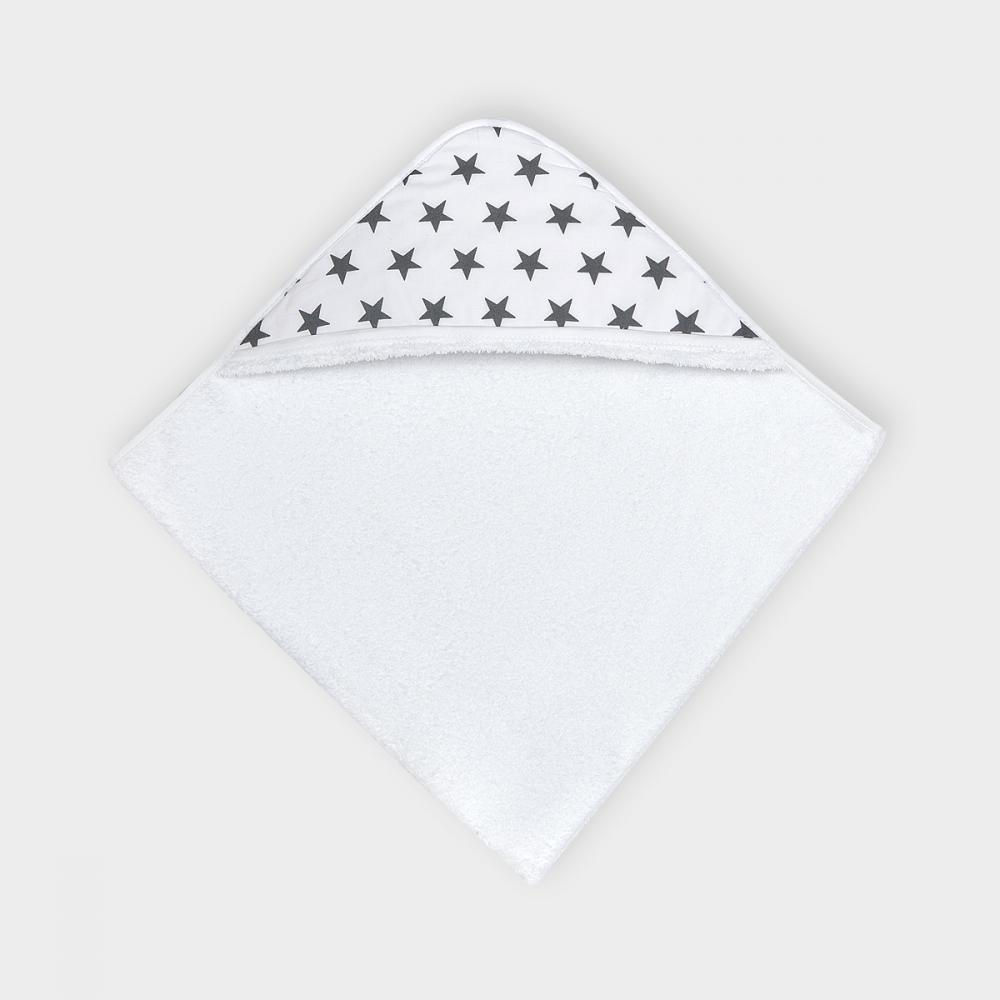 KraftKids Kapuzenhandtuch kleine graue Sterne auf Weiss
