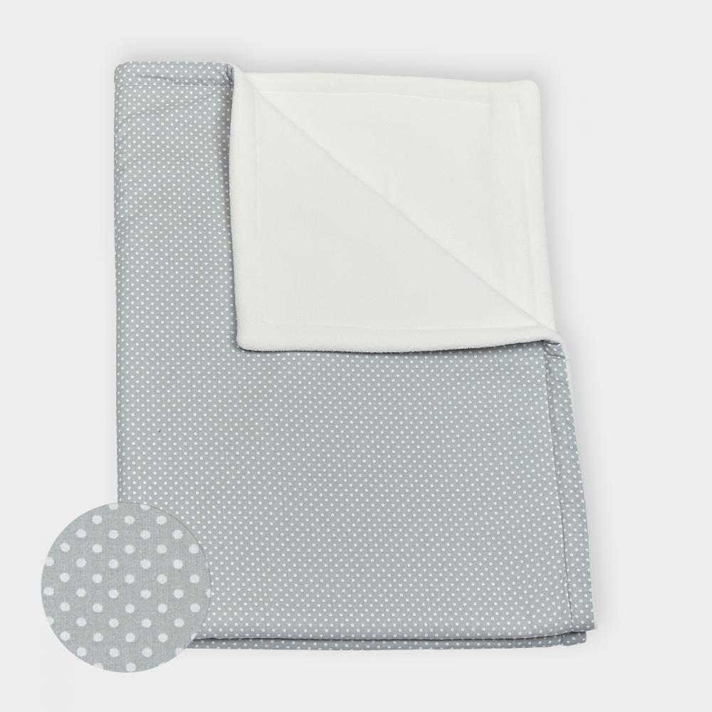 KraftKids Babydecke weiße Punkte auf Grau