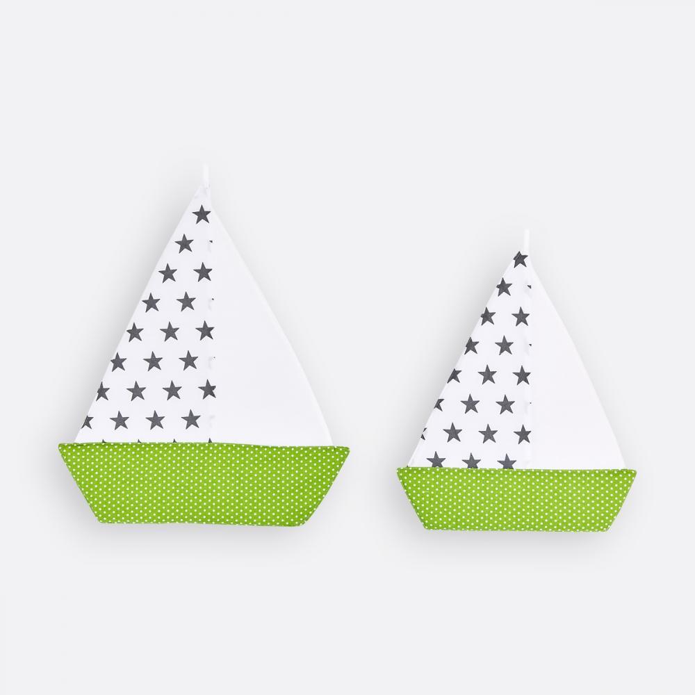 KraftKids Segelboot kleine graue Sterne auf Weiss