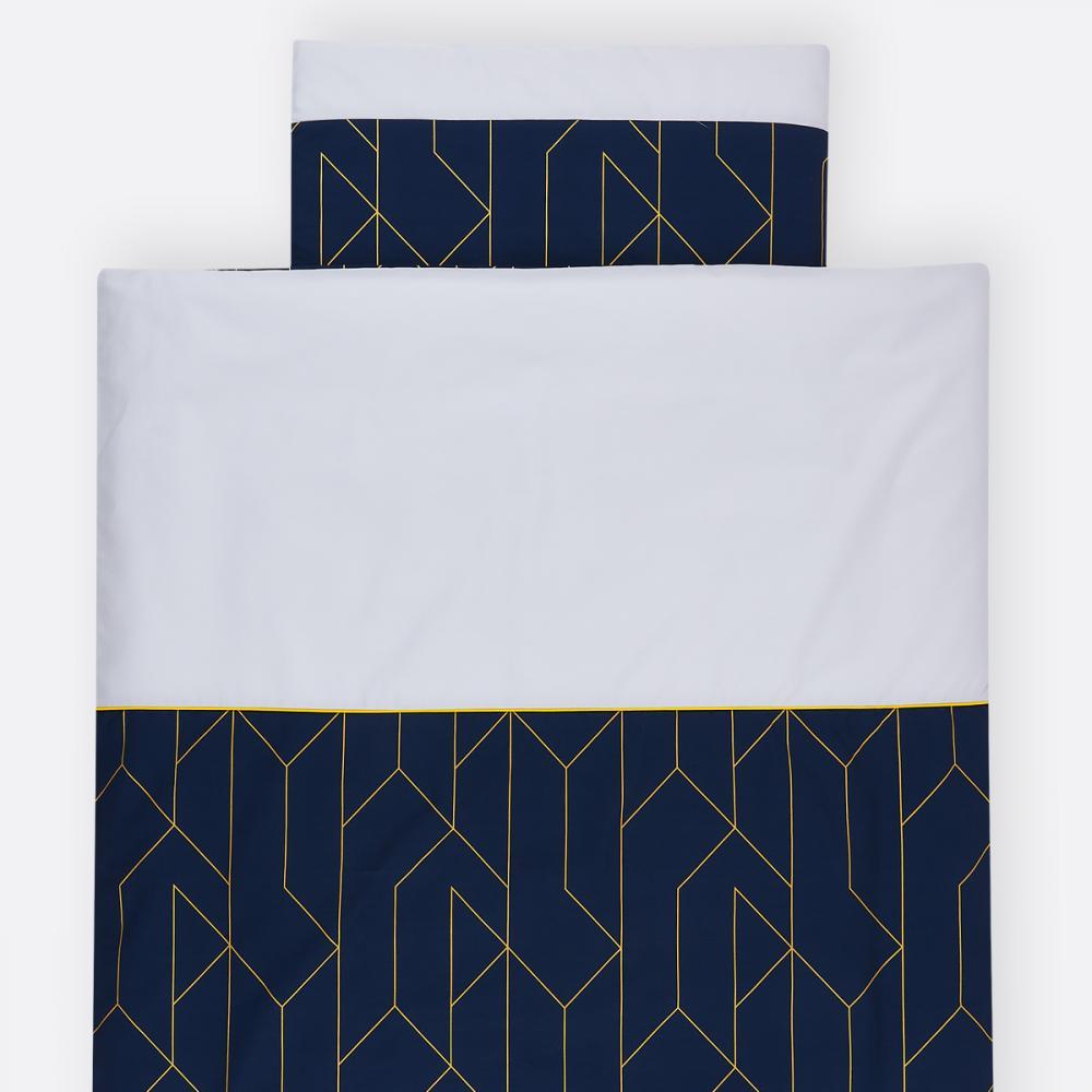 KraftKids Bettwäscheset goldene Linien auf Dunkelblau 140 x 200 cm, Kissen 80 x 80 cm