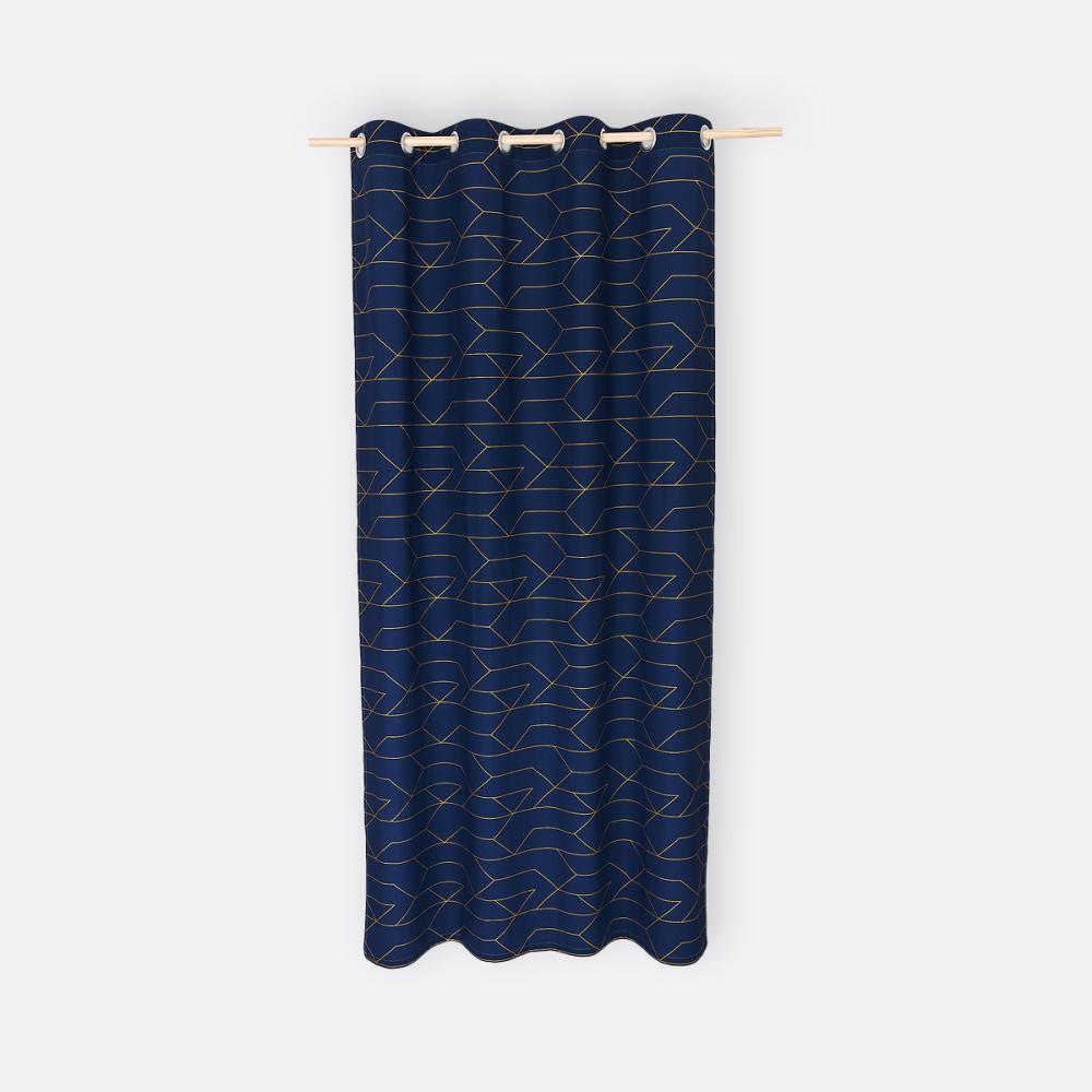 KraftKids Gardinen goldene Linien auf Dunkelblau Länge: 230 cm