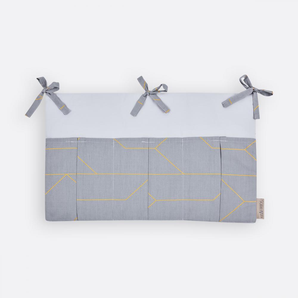 KraftKids Betttasche goldene Linien auf Grau
