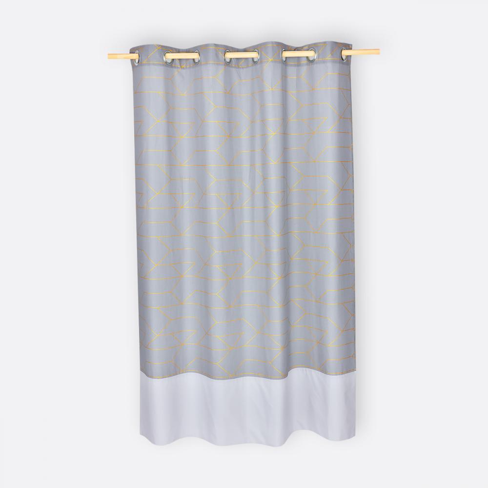 KraftKids Gardinen goldene Linien auf Grau Länge: 230 cm