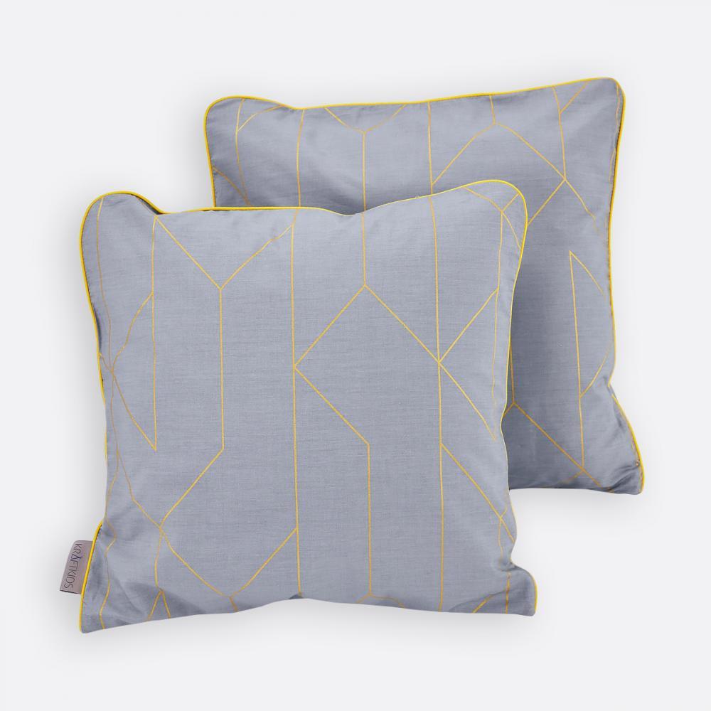 KraftKids Kissenbezug goldene Linien auf Grau