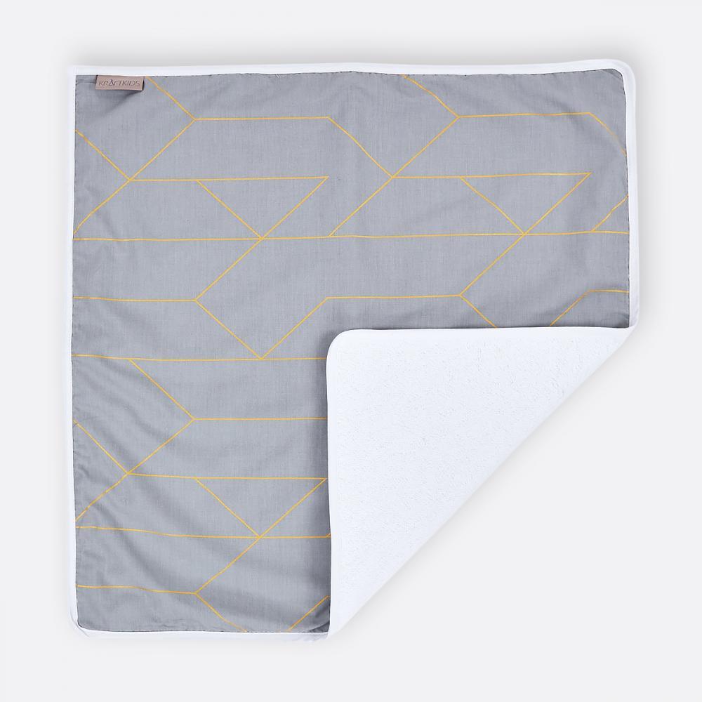 KraftKids Wickelunterlage goldene Linien auf Grau 3 Lagen wasserundurchlässig weich Frotte 100% Baumwolle