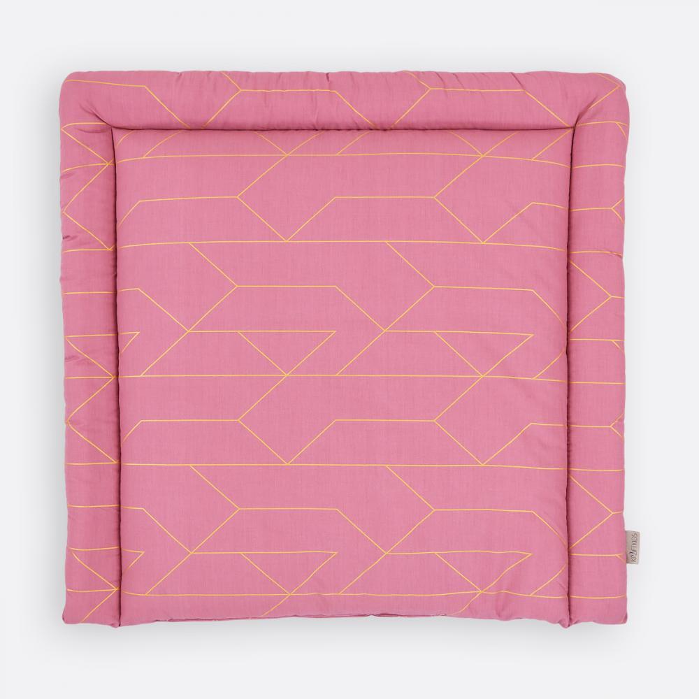 KraftKids Wickelauflage goldene Linien auf Rosa breit 60 x tief 70 cm passend für Waschmaschinen-Aufsatz von KraftKids