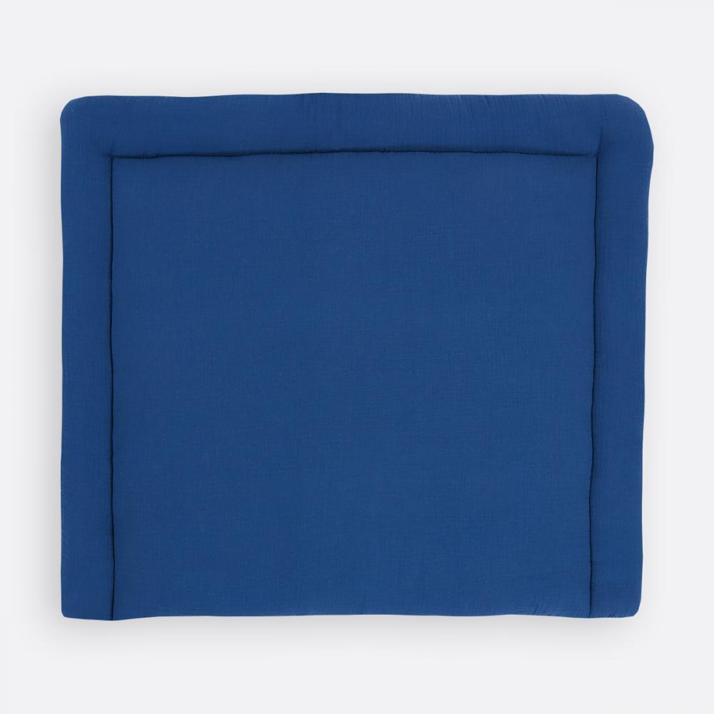 KraftKids Wickelauflage Musselin blau breit 78 x tief 78 cm z. B. für MALM oder HEMNES Kommodenaufsatz von KraftKids