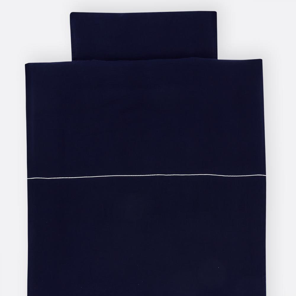 KraftKids Bettwäscheset Musselin dunkelblau 140 x 200 cm, Kissen 80 x 80 cm