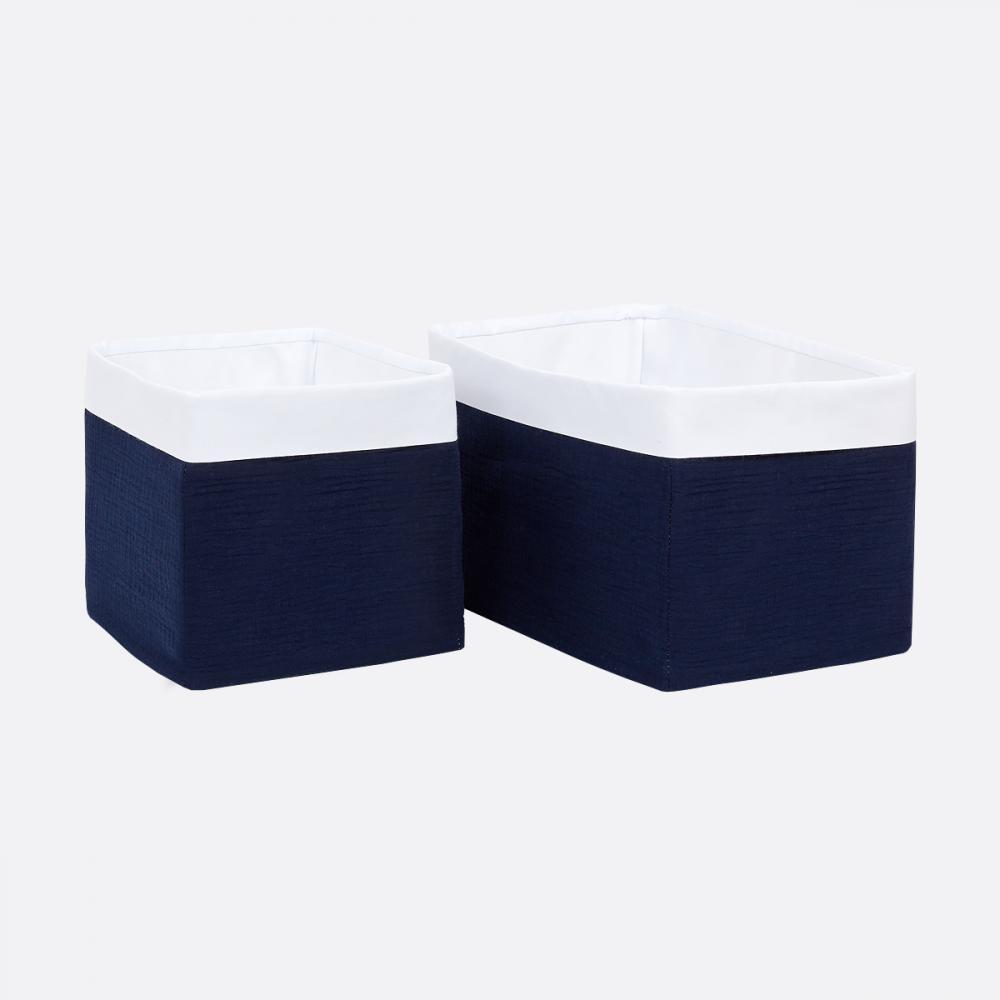 KraftKids Körbchen Musselin dunkelblau 20 x 33 x 20 cm
