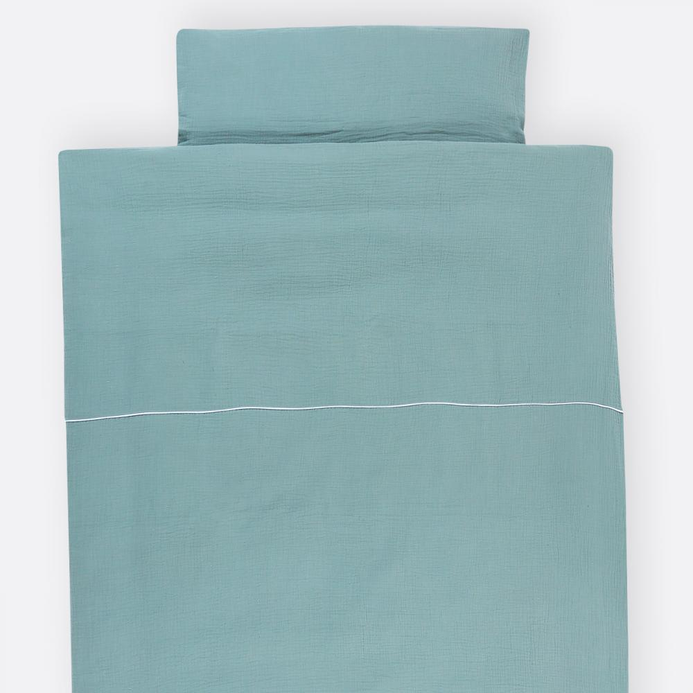 KraftKids Bettwäscheset Musselin mint 100 x 135 cm, Kissen 40 x 60 cm