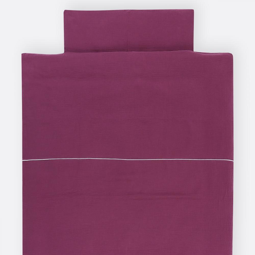 KraftKids Bettwäscheset Musselin purpur 100 x 135 cm, Kissen 40 x 60 cm