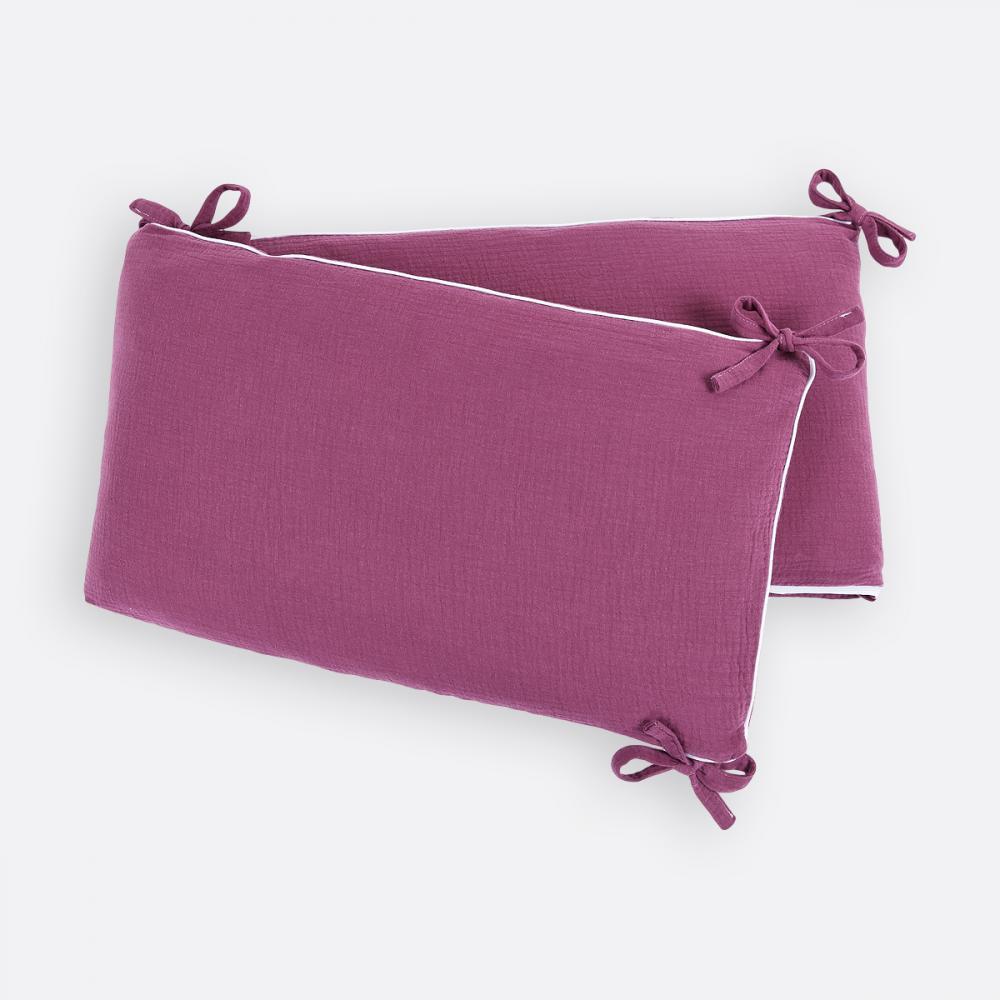 KraftKids Nestchen Musselin purpur Nestchenlänge 60-70-60 cm für Bettgröße 140 x 70 cm