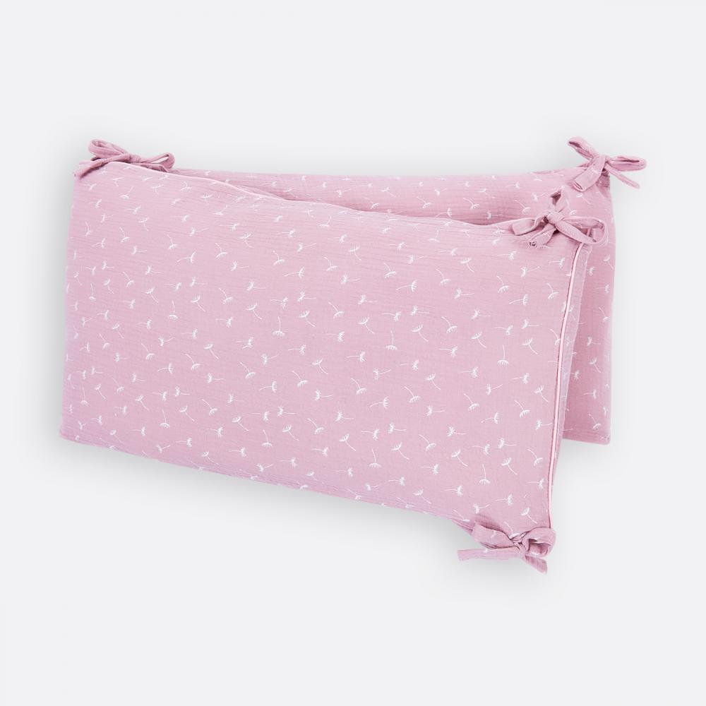 KraftKids Nestchen Musselin rosa Pusteblumen Nestchenlänge 60-70-60 cm für Bettgröße 140 x 70 cm