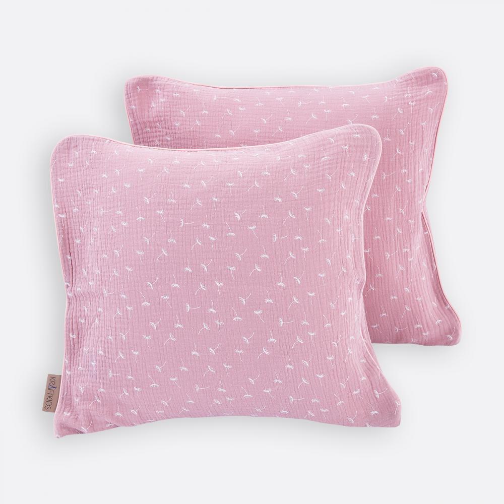 KraftKids Kissenbezug Musselin rosa Pusteblumen