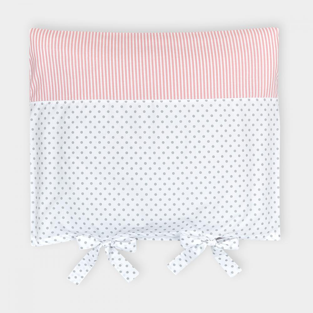 KraftKids Bezug für Wickeltischauflage graue Punkte auf Weiss und Streifen rosa