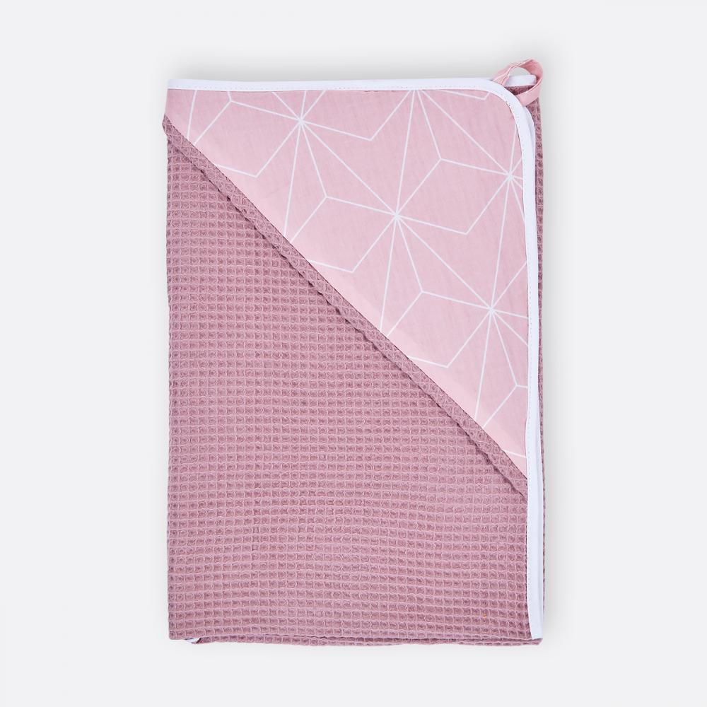KraftKids Kapuzenhandtuch Waffel Piqué rosa und weiße dünne Diamante auf Altrosa