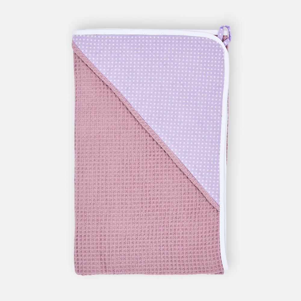 KraftKids Kapuzenhandtuch weiße Punkte auf Lila und Waffel Piqué rosa