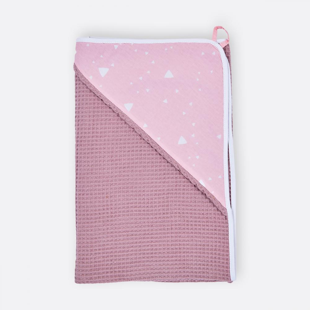 KraftKids Kapuzenhandtuch abgerundete Dreiecke weiß auf Rosa und Waffel Piqué rosa