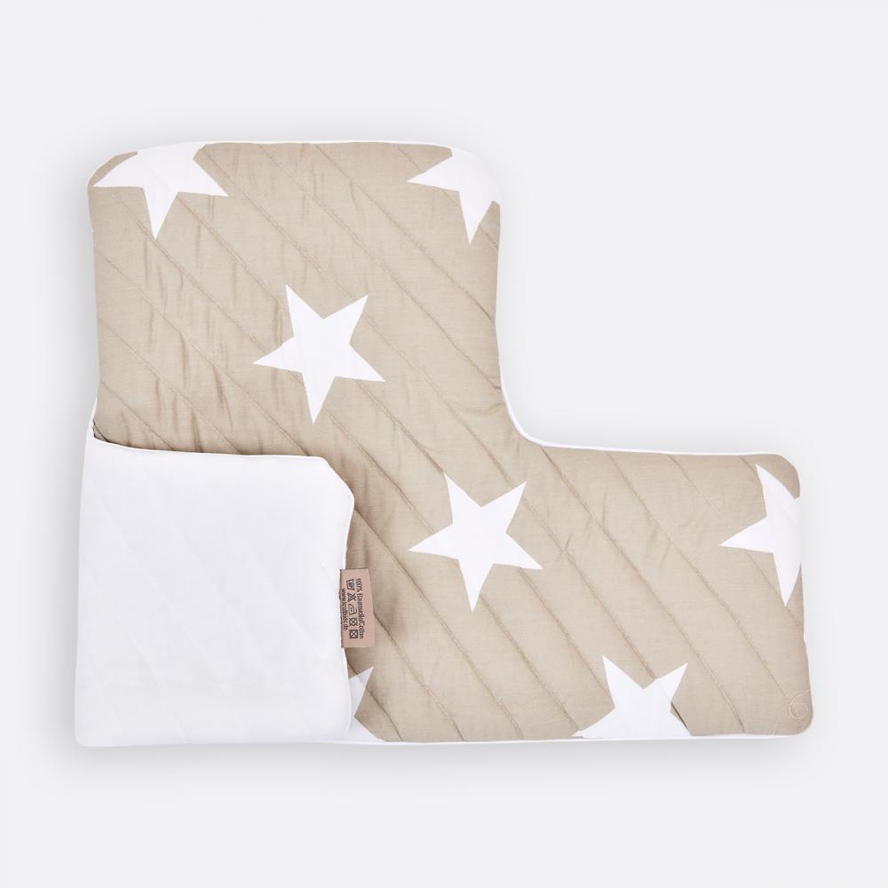 KraftKids Sitzverkleinerer große weiße Sterne auf Beige Hochstuhl Hochstuhleinlage