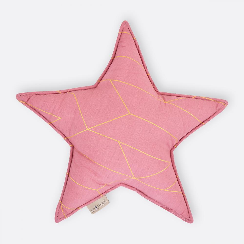 KraftKids Dekoration Sternkissen goldene Linien auf Rosa