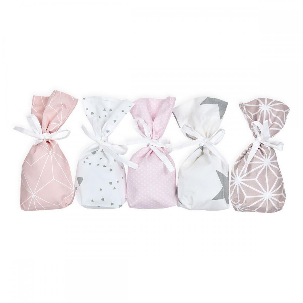 KraftKids Dekoration Adventskalender rosa grau 24 Stoff Säckchen zum Befüllen Baumwolle verschiedene Farbrichtungen für Groß und Klein
