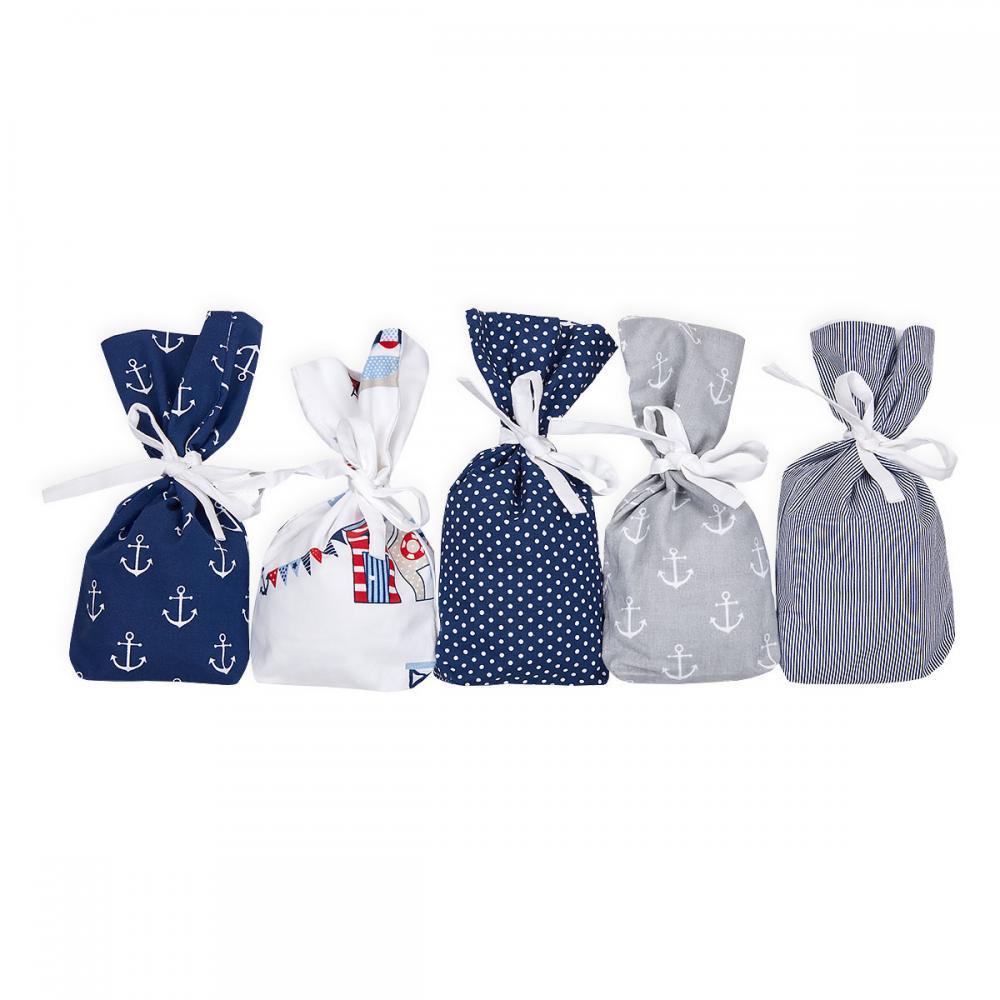 KraftKids Adventskalender maritim dunkelblau grau 24 Stoff Säckchen zum Befüllen Baumwolle verschiedene Farbrichtungen für Groß und Klein