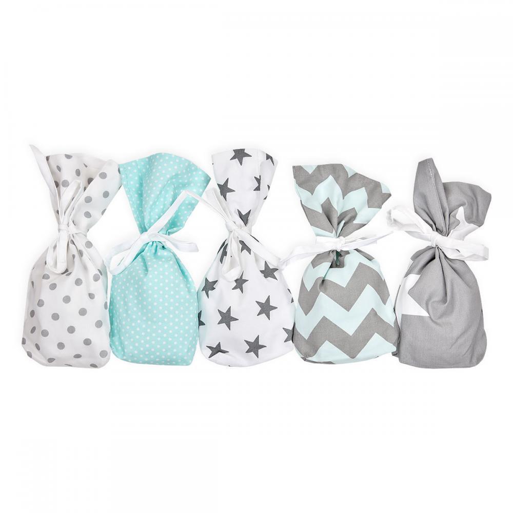 KraftKids Adventskalender mint grau 24 Stoff Säckchen zum Befüllen Baumwolle verschiedene Farbrichtungen für Groß und Klein