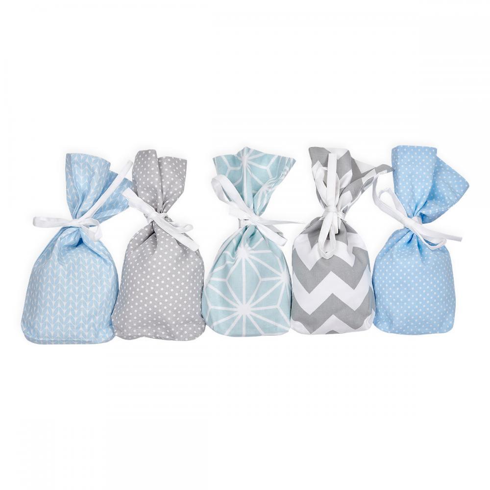 KraftKids Adventskalender blau grau 24 Stoff Säckchen zum Befüllen Baumwolle verschiedene Farbrichtungen für Groß und Klein