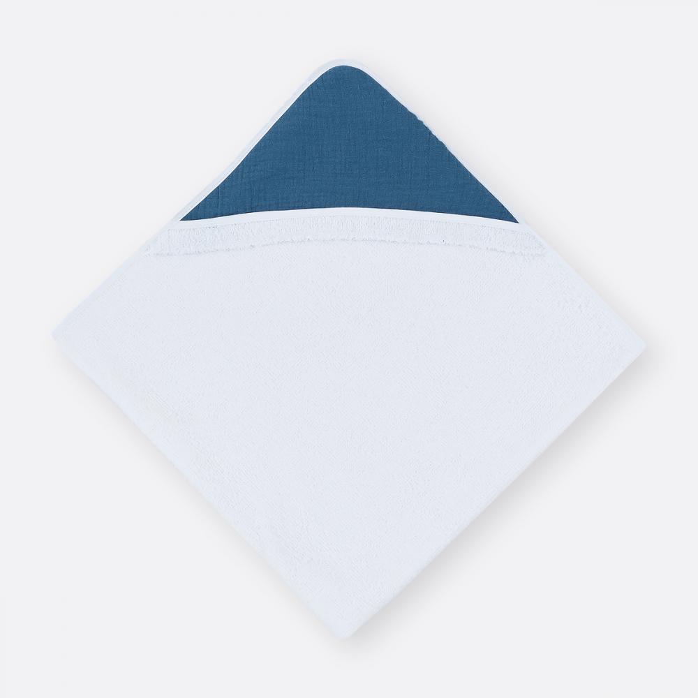 KraftKids Kapuzenhandtuch Musselin blau