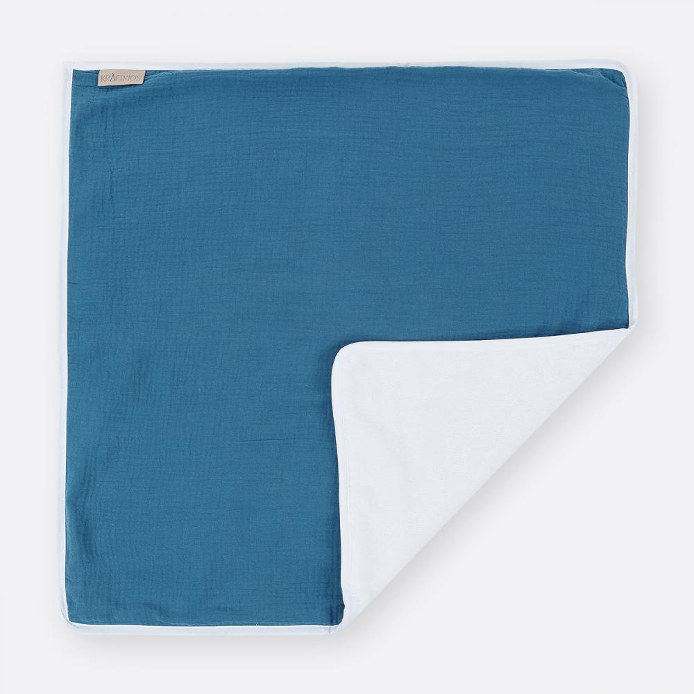 KraftKids Wickelunterlage Musselin blau 3 Lagen wasserundurchlässig weich Frotte 100% Baumwolle