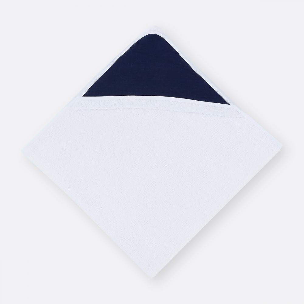KraftKids Kapuzenhandtuch Musselin dunkelblau