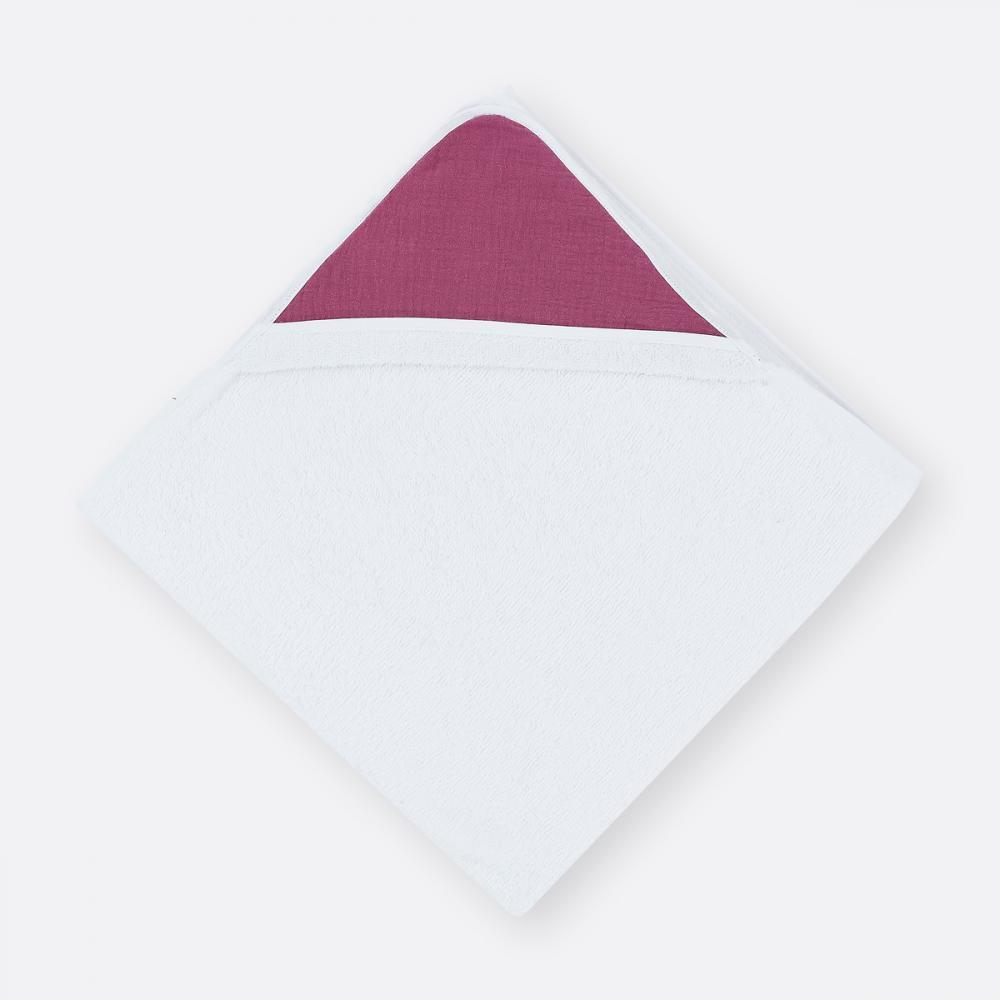 KraftKids Kapuzenhandtuch Musselin purpur
