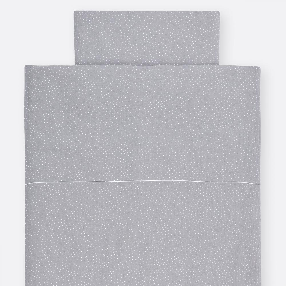 KraftKids Bettwäscheset Musselin grau Punkte 140 x 200 cm, Kissen 80 x 80 cm