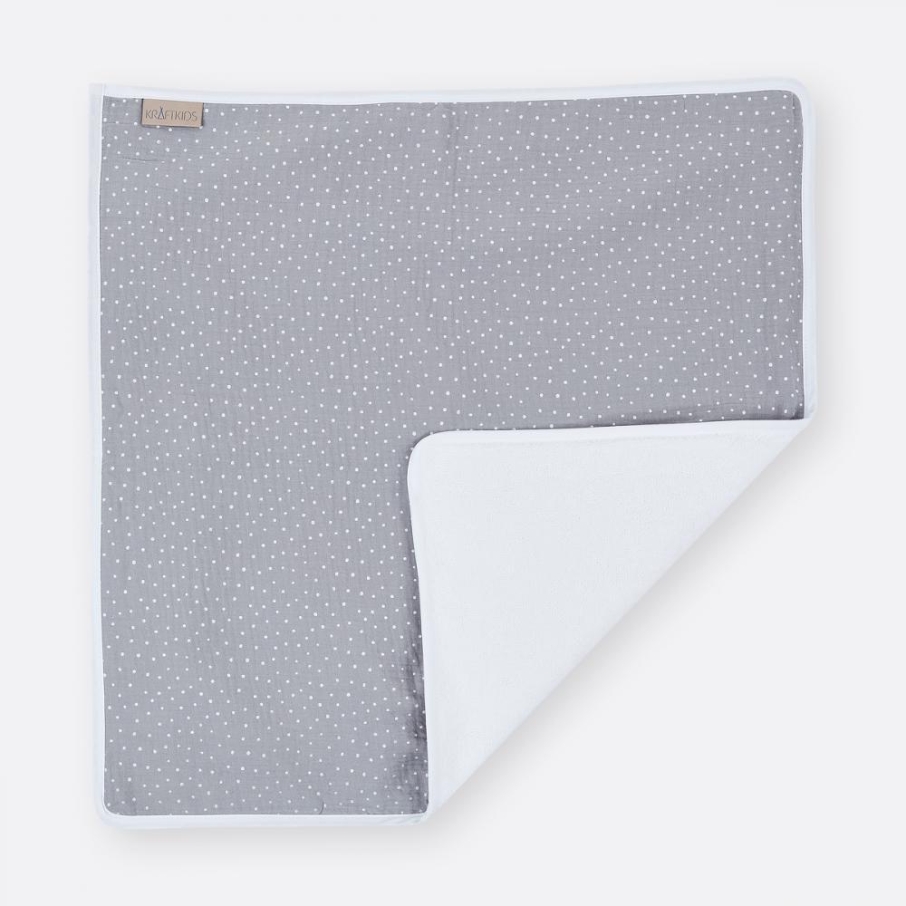 KraftKids Wickelunterlage Musselin grau Punkte 3 Lagen wasserundurchlässig weich Frotte 100% Baumwolle