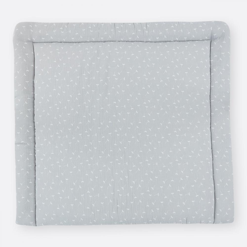 KraftKids Wickelauflage Musselin grau Pusteblumen breit 75 x tief 70 cm