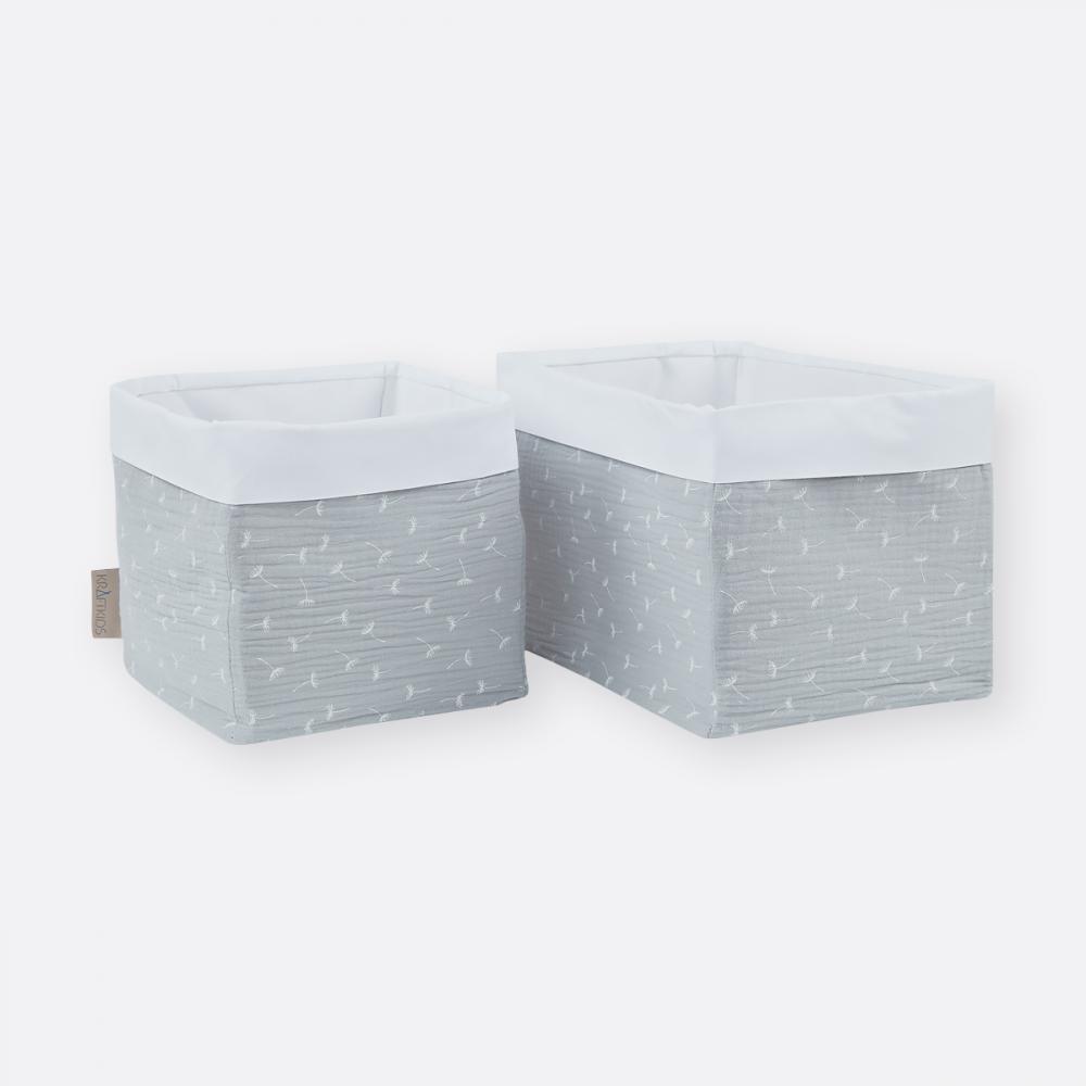 KraftKids Körbchen Musselin grau Pusteblumen 20 x 33 x 20 cm
