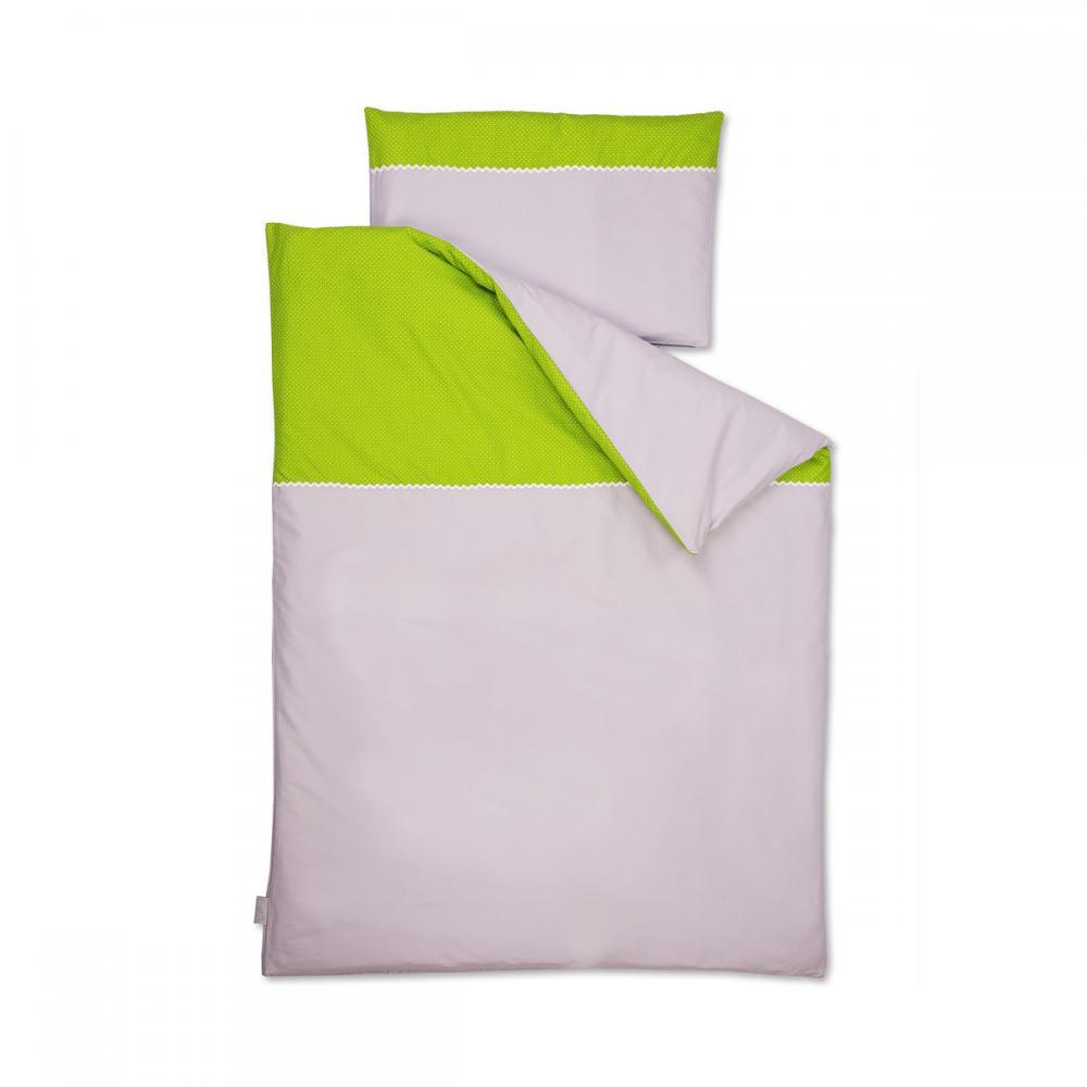 KraftKids Bettwäscheset Unigrau und weiße Punkte auf Grün 100 x 135 cm, Kissen 40 x 60 cm