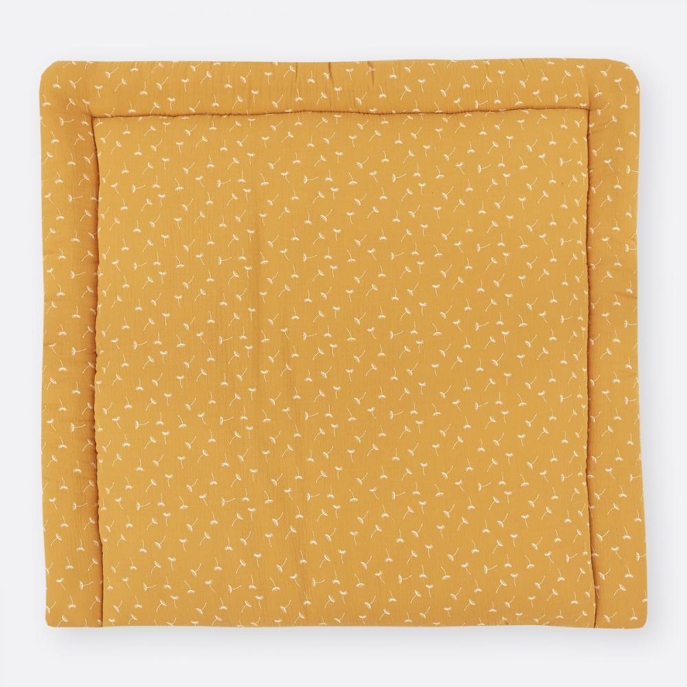 KraftKids Wickelauflage Musselin gelb Pusteblumen breit 78 x tief 78 cm z. B. für MALM oder HEMNES Kommodenaufsatz von KraftKids