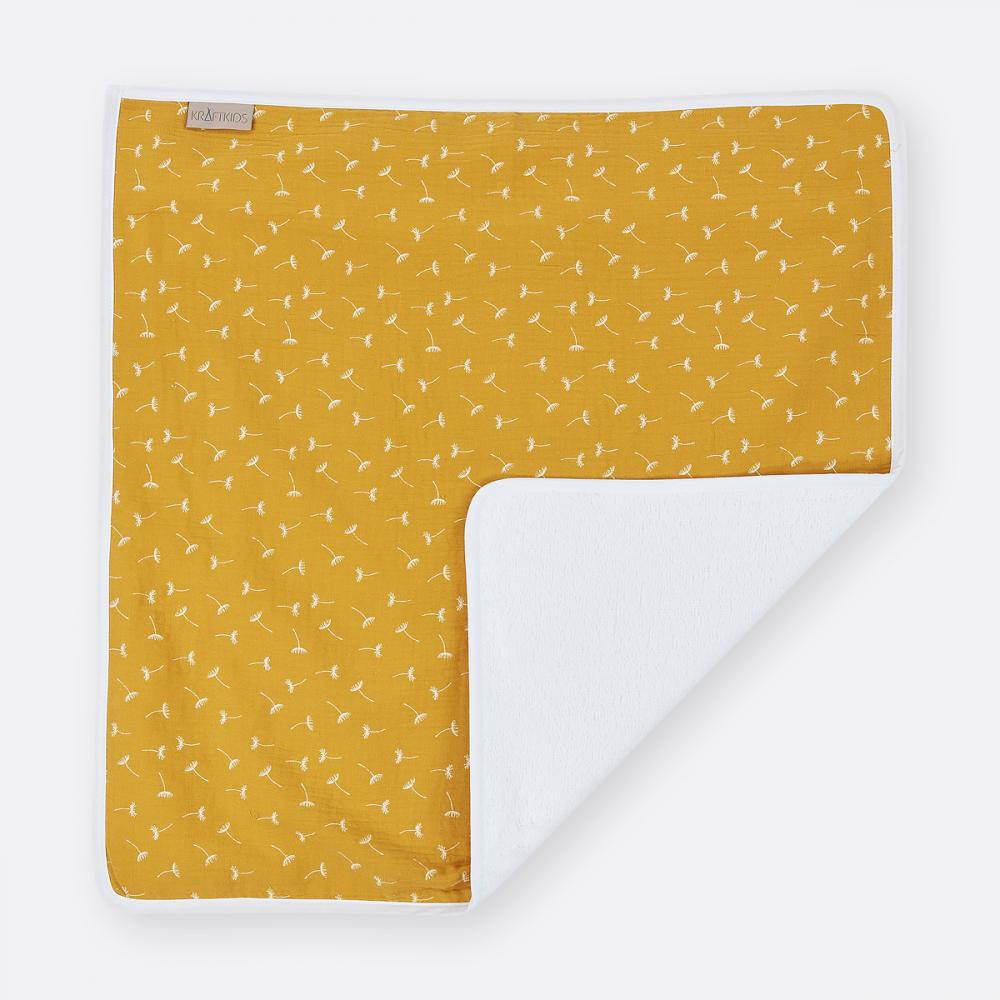 KraftKids Wickelunterlage Musselin gelb Pusteblumen 3 Lagen wasserundurchlässig weich Frotte 100% Baumwolle