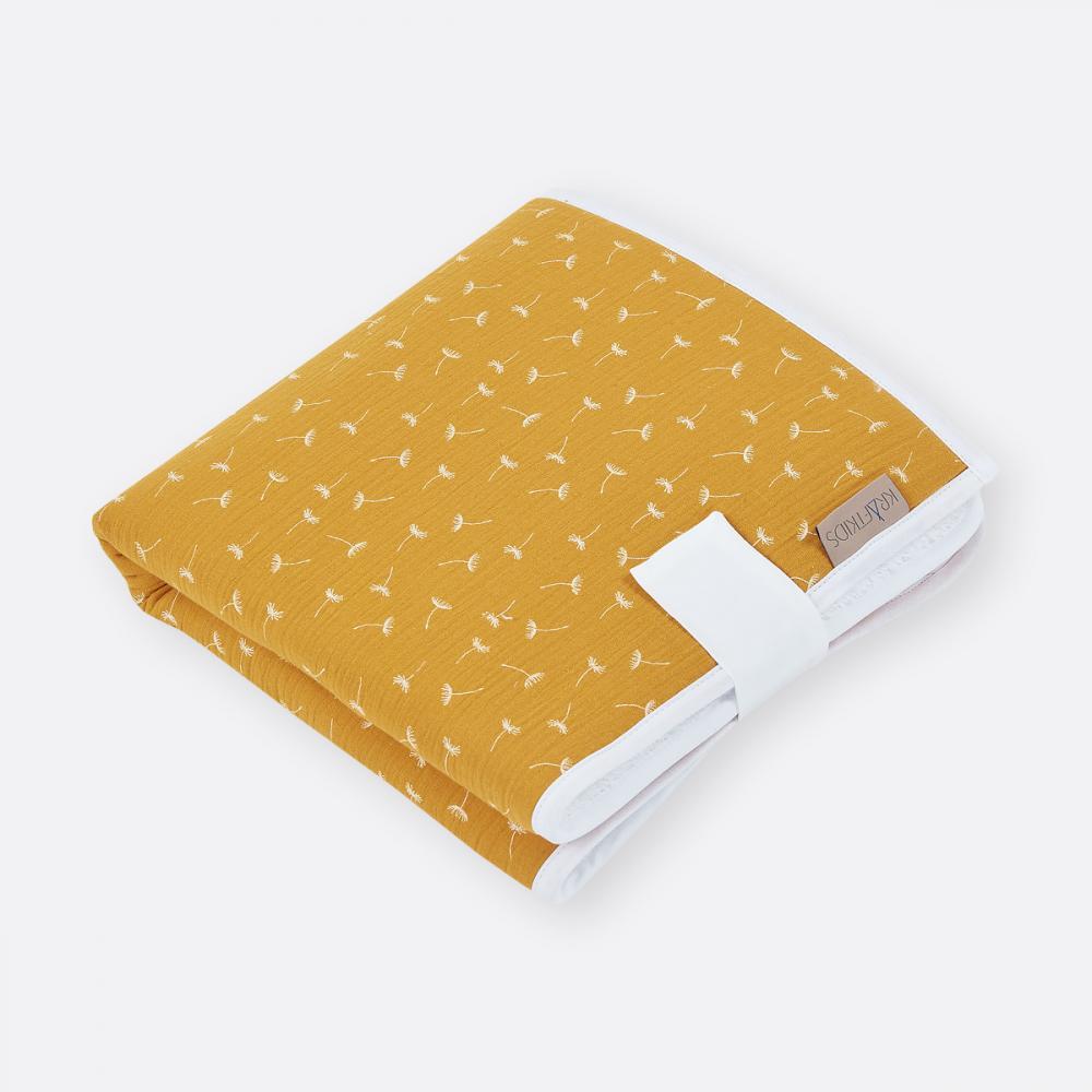 KraftKids Reisewickelunterlage Musselin gelb Pusteblumen 3 Lagen wasserundurchlässig weich Frotte 100% Baumwolle