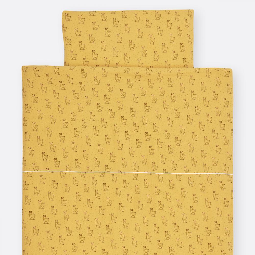 KraftKids Bettwäscheset Musselin gelb Lamma 140 x 200 cm, Kissen 80 x 80 cm