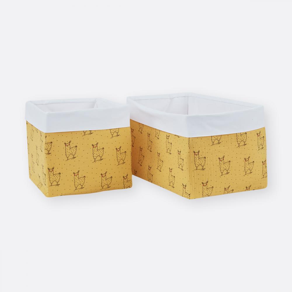 KraftKids Körbchen Musselin gelb Lamma 20 x 20 x 20 cm