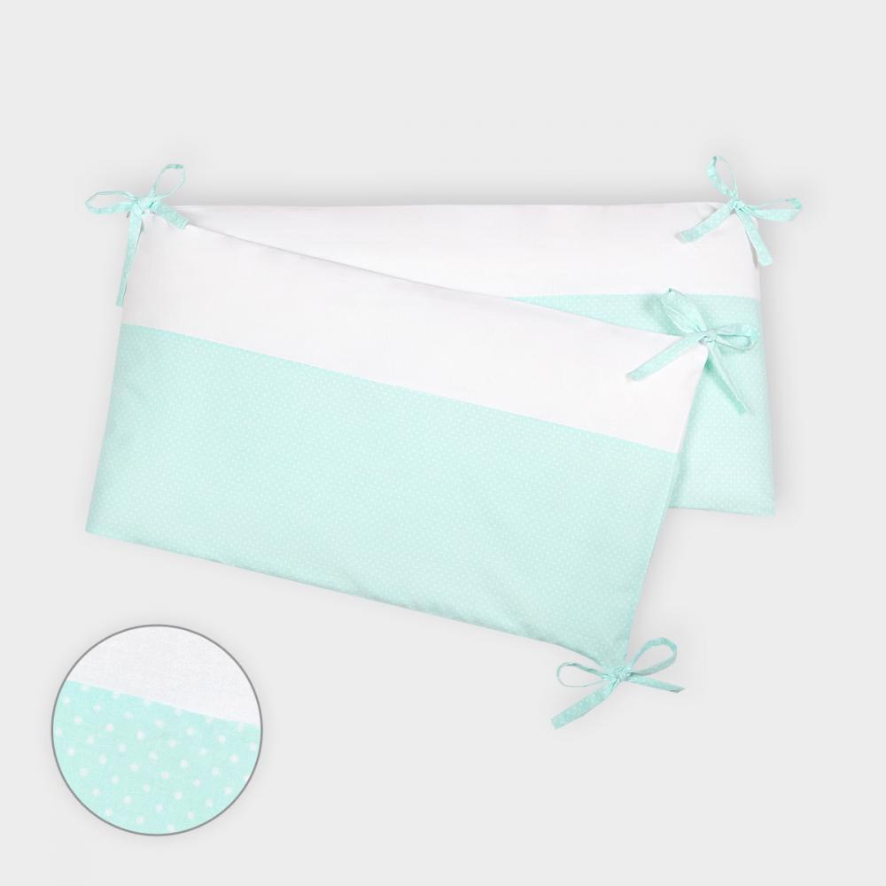 KraftKids Nestchen Uniweiss und weiße Punkte auf Mint Nestchenlänge 60-70-60 cm für Bettgröße 140 x 70 cm