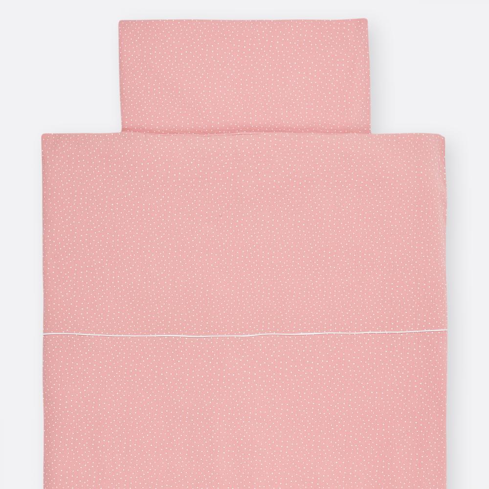 KraftKids Bettwäscheset Musselin rosa Punkte 100 x 135 cm, Kissen 40 x 60 cm