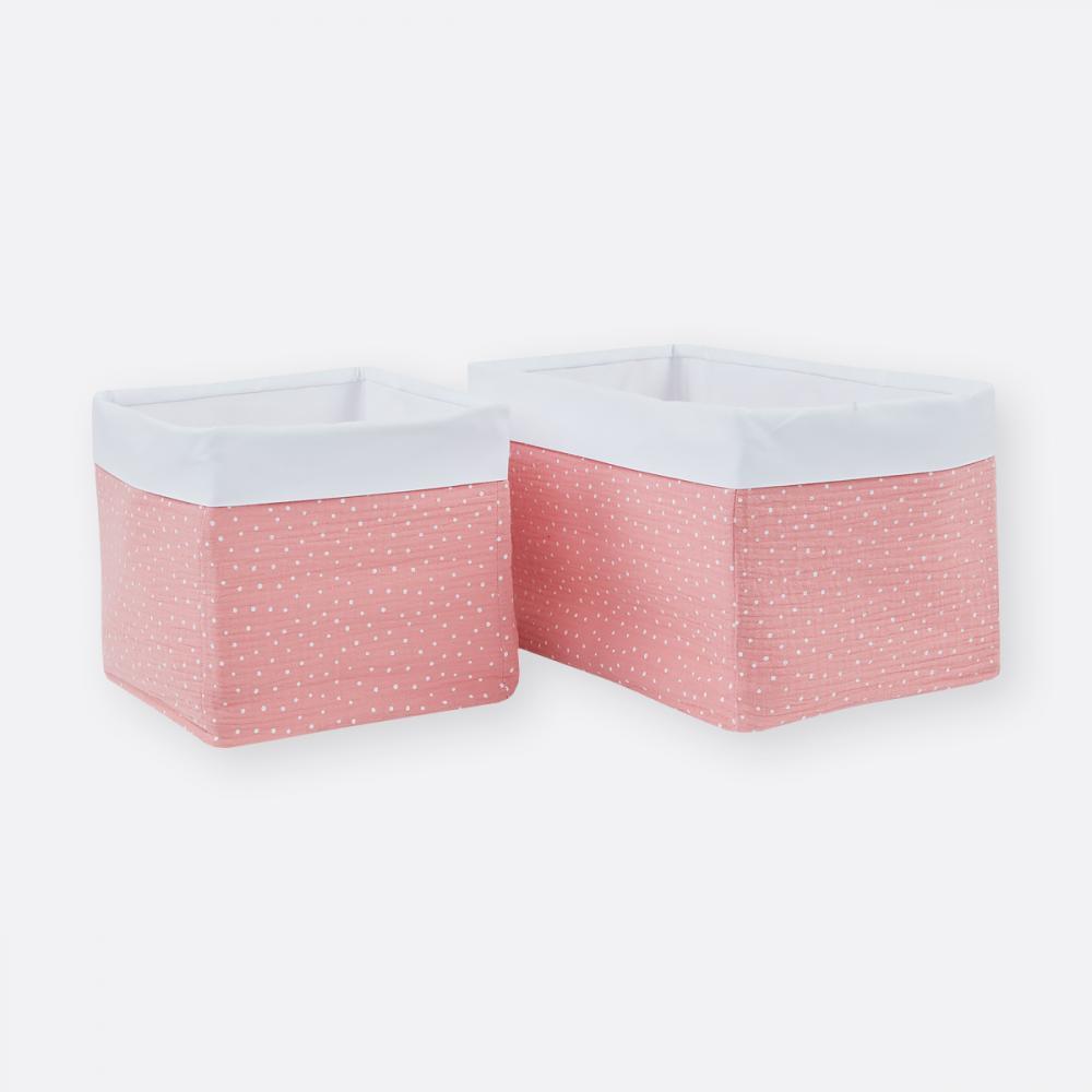 KraftKids Körbchen Musselin rosa Punkte 20 x 20 x 20 cm