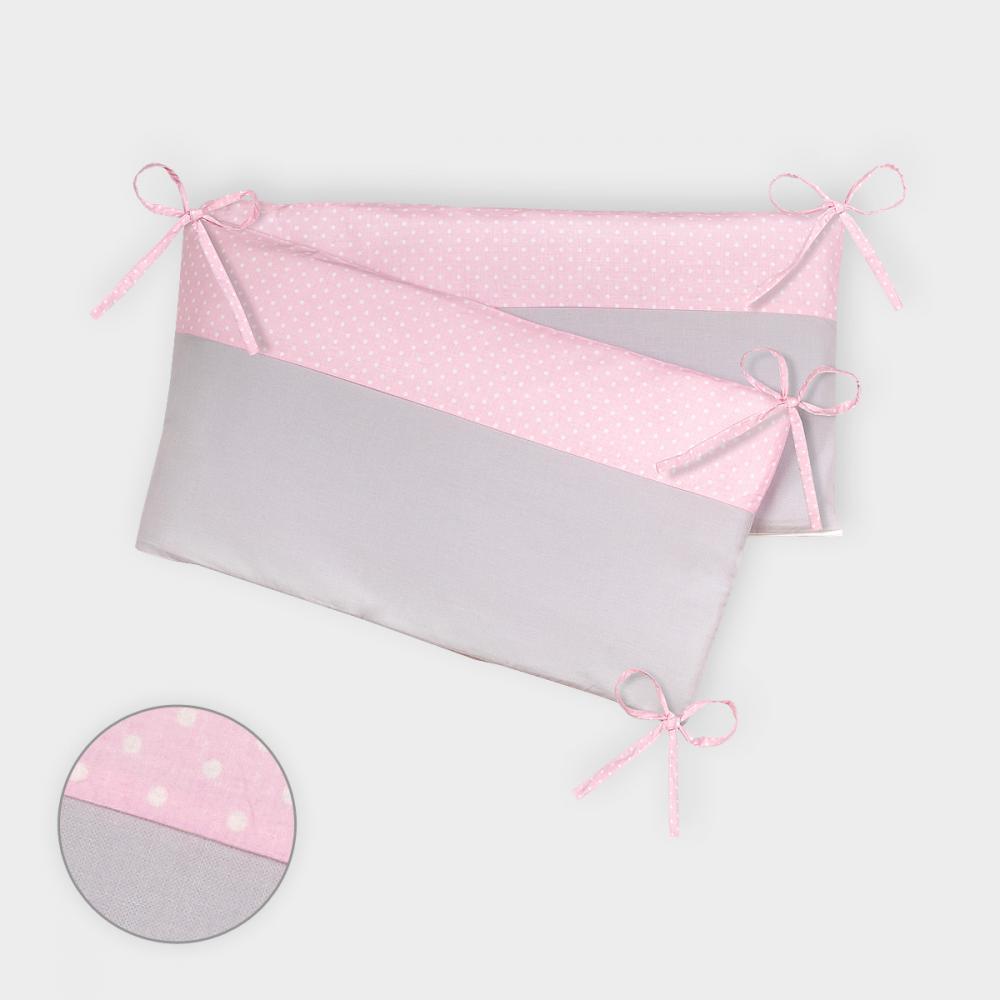 KraftKids Nestchen Unigrau und weiße Punkte auf Rosa Nestchenlänge 60-70-60 cm für Bettgröße 140 x 70 cm