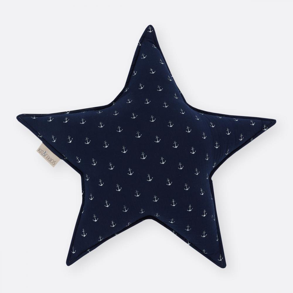 KraftKids Dekoration Sternkissen Musselin dunkelblau Anker