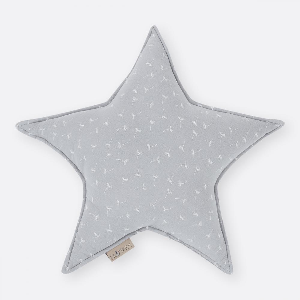 KraftKids Dekoration Sternkissen Musselin grau Pusteblumen