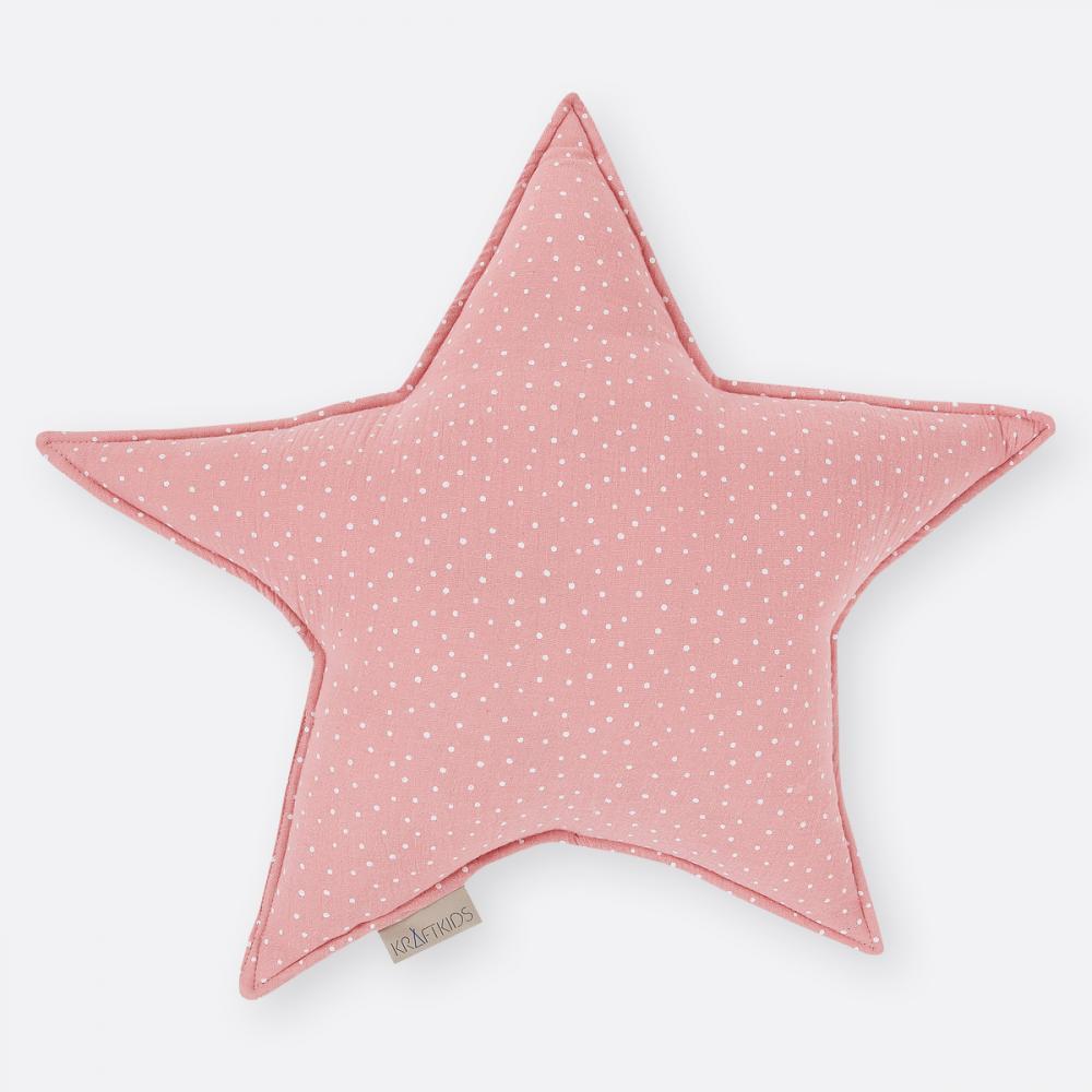 KraftKids Dekoration Sternkissen Musselin rosa Punkte