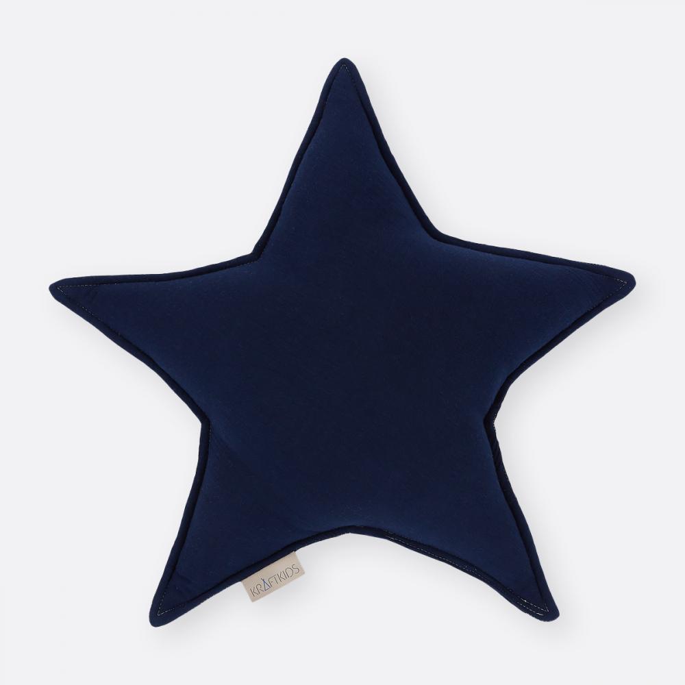 KraftKids Dekoration Sternkissen Musselin dunkelblau
